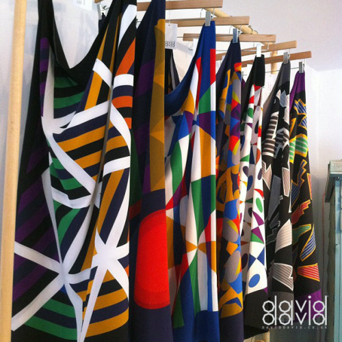 New scarves at the David David store, 38 Earlham St, London WC2