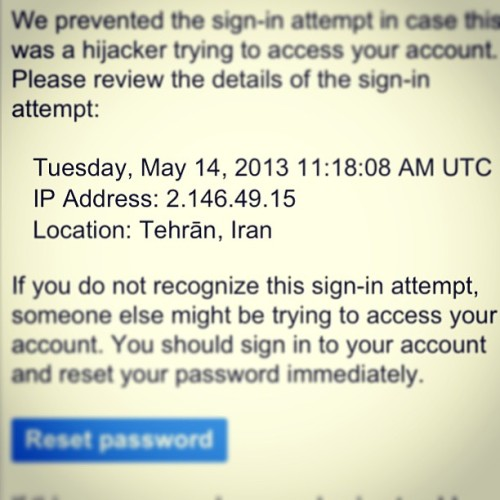 People of Tehran, stay out of my gmail, please. (at Not Iran)