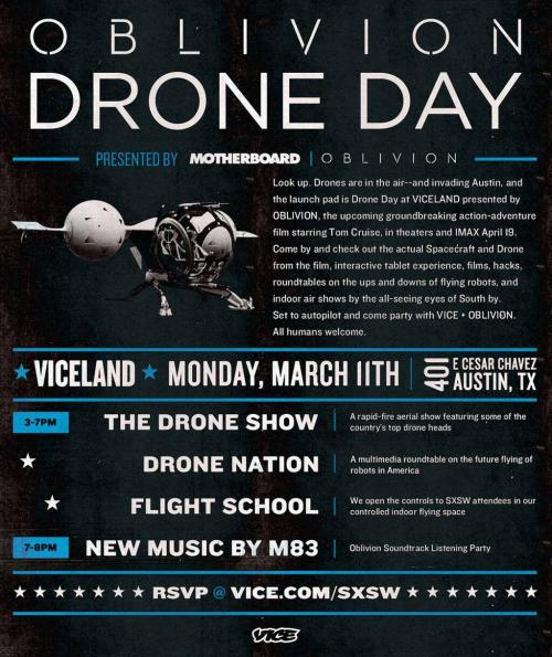 If you're heading to #SXSW, don't miss the Bubbleship & Drone from @OblivionMovie Experience at VICELAND!