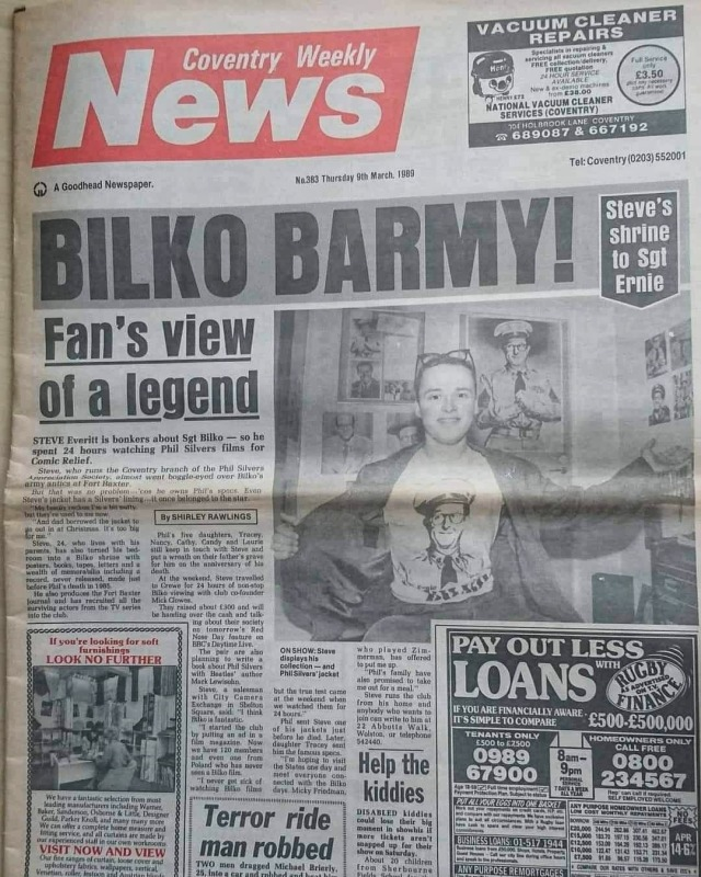 A blast from our past!  One of our very early press articles - Coventry Weekly News 363, 9 March, 1989. I was 24 with hair! 😀   Please support Phils legacy. ⬇️  https://www.patreon.com/Phil_Silvers_Museum?fan_landing=true  #thephilsilversarchivalmuseum #thebritishphilsilversappreciationsociety #philsilvers #thephilsilversshow #bilko #comedy #comedian #lovefargo #UKCityofCulture2021 #visitcoventry #museums #museumcollection #Museum #museumlover #museumfromhome #museumselfie #museumlovers #museumshop #museumlife #museumsaroundtheworld  #whyilovemuseums #museumstogether #museumsoftheworld #supportus #visit #us #uk #australia #coventrycityofculture  (at The Phil Silvers Archival Museum) https://www.instagram.com/p/CRdlgAIAFC8/?utm_medium=tumblr #thephilsilversarchivalmuseum#thebritishphilsilversappreciationsociety#philsilvers#thephilsilversshow#bilko#comedy#comedian#lovefargo#ukcityofculture2021#visitcoventry#museums#museumcollection#museum#museumlover#museumfromhome#museumselfie#museumlovers#museumshop#museumlife#museumsaroundtheworld#whyilovemuseums#museumstogether#museumsoftheworld#supportus#visit#us#uk#australia#coventrycityofculture