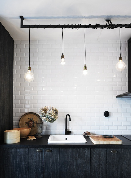 Lighting and subway tiles