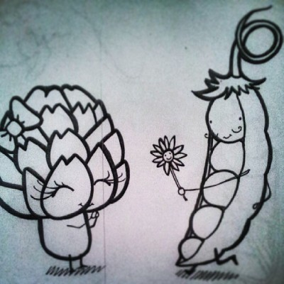 #laduck #veggie #vegetable #love #flower #she #& #him #sketch #black #white #draw #drawing #happy