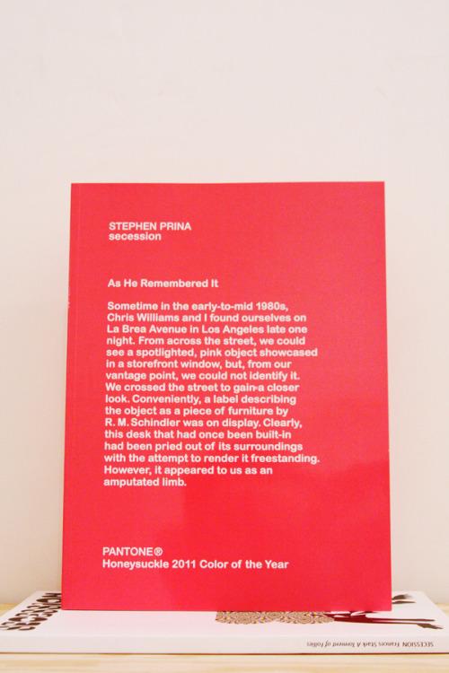 "Stephen Prina, Secession ""Color of the year"" Secession, Vienna, 2011 12 x 9 inches (31 x 23cm) $70Purchase"