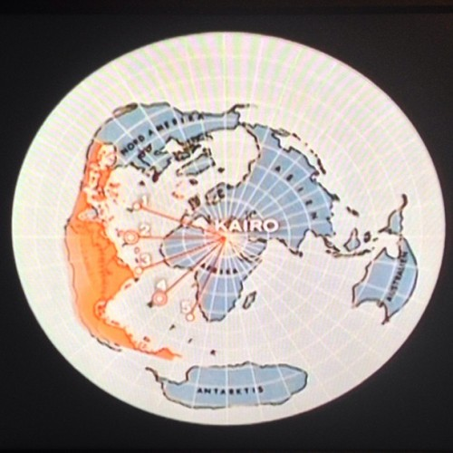 Map of the Earth from the perspective of Cairo via the documentary The Chariots of the Gods.