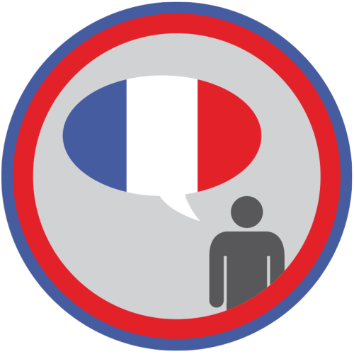 lifescouts:  Lifescouts: French Language Badge If you have this badge, reblog it and share your story! Look through the notes to read other people's stories. Click here to buy this badge physically (ships worldwide).Lifescouts is a badge-collecting community of people who share their real-world experiences online.  So, yeah I've been learning French for 9 years now and I'm still not fluent, which is a shame. I can understand things pretty well. I suppose the only reason I'm not fluent is because I panic at school. The only times you actually have to speak in French at school is during oral presentations and when you're asking the teacher something. Other then that, not much practice. BUT WHATEVER IT COUNTS.