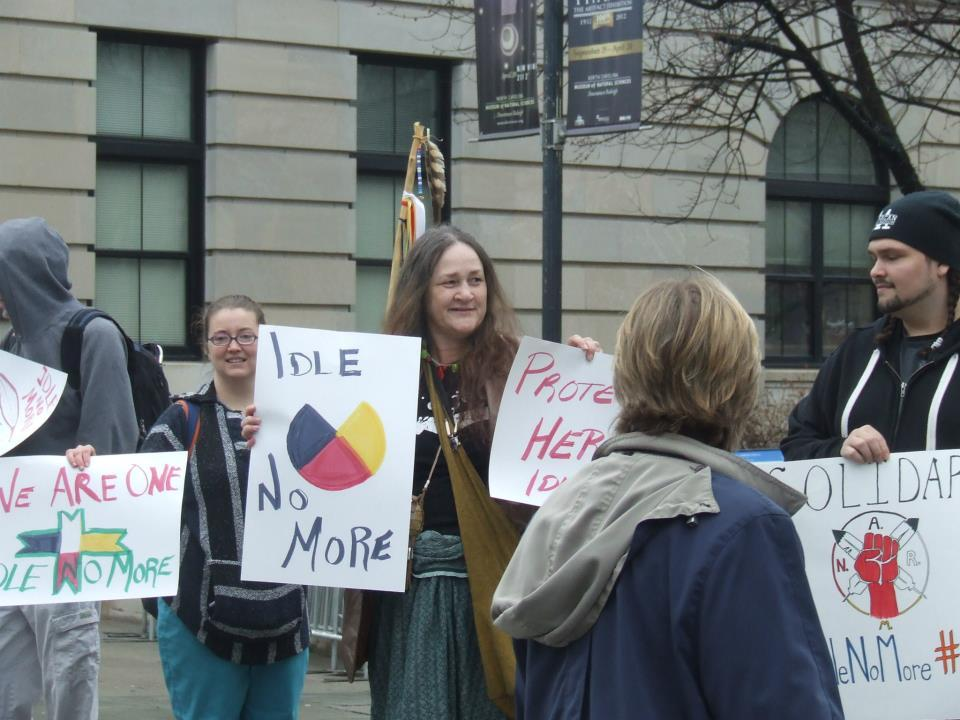 Shot from #J11 #IdleNoMore #RaleighNC #N.A.R.M. logo spotted on the right!