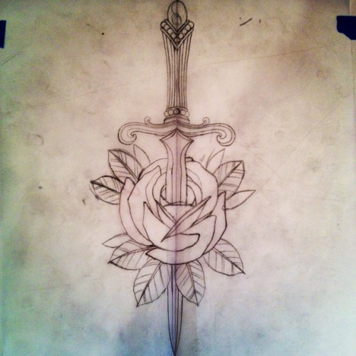 Tattoo for @sarahlashelle .  I will post when finished. #rosedagger (at Everlasting Tattoo)