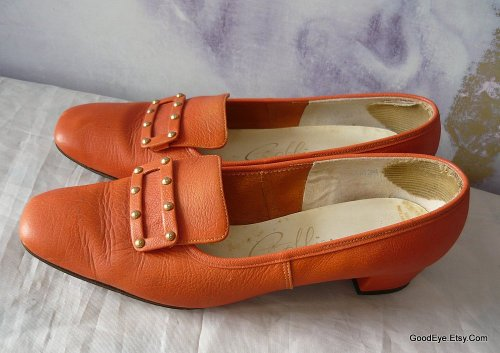 Vintage 60s Mod flats….Cobbies…Orange leather… @ www.GoodEye.Etsy.Com