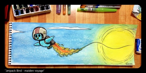 """Jetpack Bird - maiden voyage"" (big watercolour!)"
