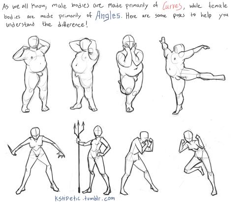 "mamamantis:  kstipetic:  Here is a thing I made to help you art.  yells loudly THANK YOU i fucking hate all ""learn to draw"" books and the junk they pull with ""female curves"" and ""male angles"" is like 70% of the reason"