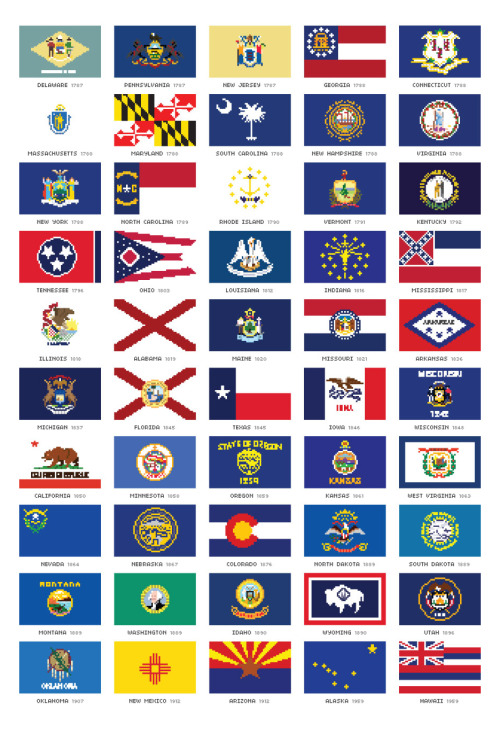 I made pixel versions of all 50 state flags of the US. Weird. It is available as a print, and each individual flag can be made into a small print if you like crazy state seals in 8 bit like I do. Still: weird.