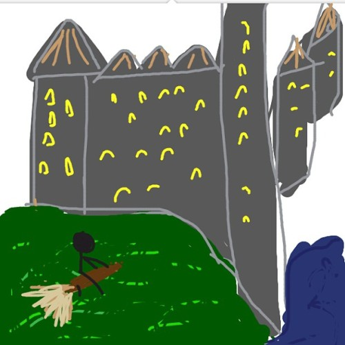 Hogwarts! And my amazing drawing skills on #drawsomething #skill #hogwarts #harrypotter #broom #castle #wizard #drawing #iphone #amazing #igdaily