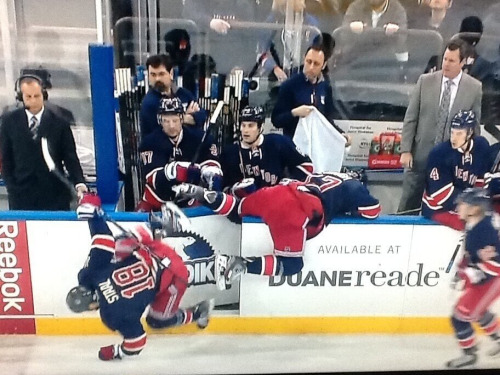 The New York Rangers Guide to a successful line change.