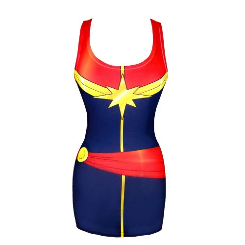 fashiontipsfromcomicstrips:  Captain Marvel Tank Tunic, by WeLoveFine, $29 In which, Carol Danvers REALNESS. As you probably already know, I'm a huge fan of trompe-l'oeil costume apparel, but this is probably one of my favorite pieces to date.  OMG I need this. It's beautiful.