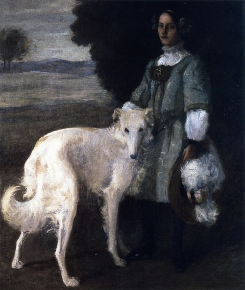 borzoidaily:  William Merritt Chase, Alice with Wolfhound, c. 1898