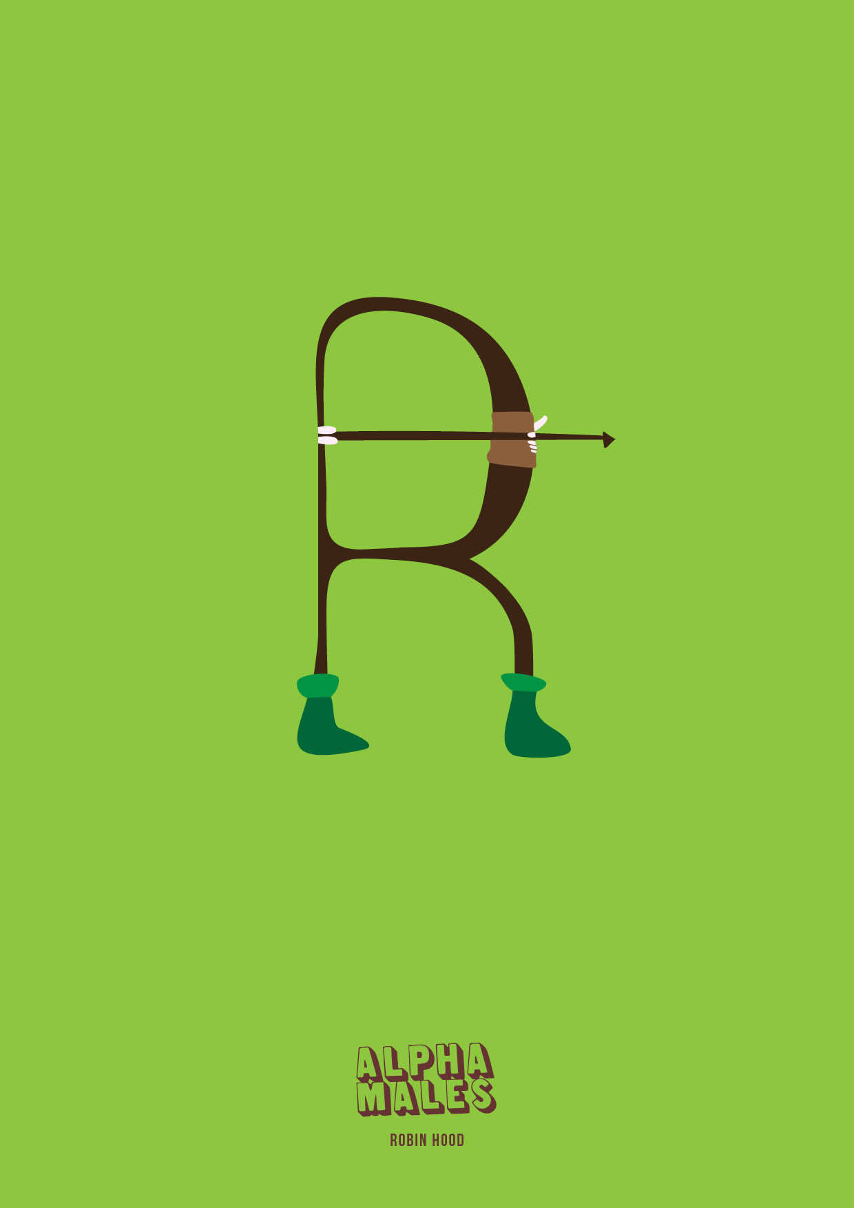 R is for Robin of the Hood. Cocky Sherwood alpha and all round man of the people. Pretty handy with a bow and arrow for a chap who wears tights. Buy prints at: http://www.artflakes.com/en/products/alpha-males-robin-hood