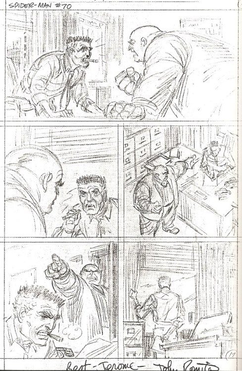 Here's an unused penciled page intended for AMAZING SPIDER-MAN #70 by John Romita.