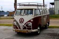 vwcamper:  My first bus was titian red & beige gray.