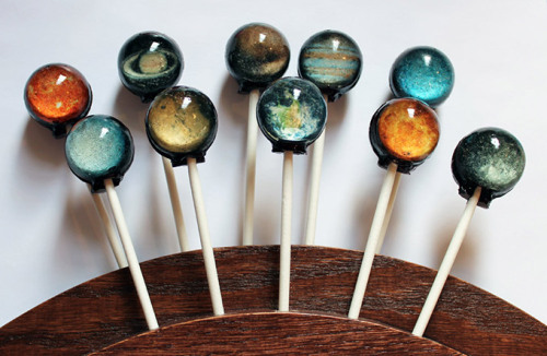 bella-illusione:  Solar System Hard Candy Lollipops By Vintage Confections