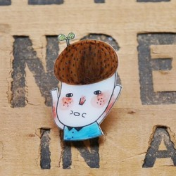 The Eco Guy  #etsy #shrink #plastic #handmade #brooch #drawing #cute #eco #guy