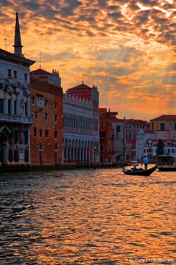 wonderous-world:  Sunset over Grand Canal Venice, Italy by Yury Prokopenko