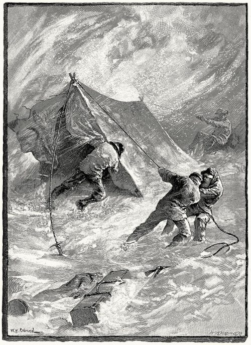The whirling snow mocked our efforts.  W. H. Overend, frontispiece from Travels amongst the great Andes of the equator, by  Edward Whymper, New York, 1892.  (Source: archive.org)