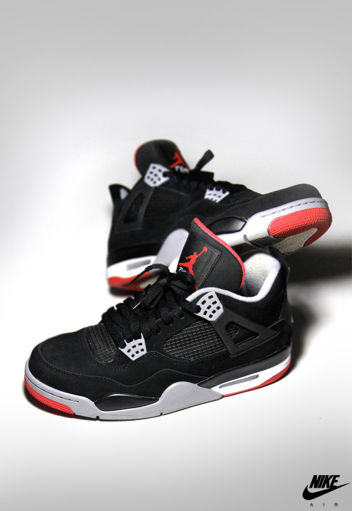 shoe-pornn:  Nike Air Jordan Retro 4-Black/Red-My Photography.