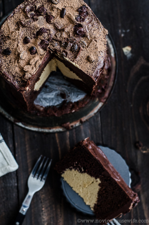 bakeddd:  chocolate cake with caramel coffee mousse filling click here for recipe