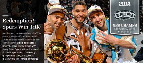Going to be lonnnggg day at work after hitting the hay at 4.30am but worth it for these guys. We've been through so much together. When I started supporting the Spurs, we hadn't won any NBA titles. Now we've got five and this is the sweetest yet with revenge for last year#NBAChamps