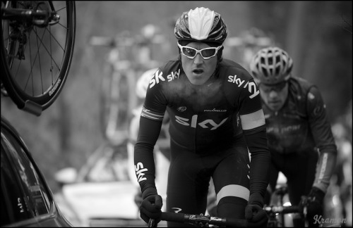 Geraint Thomas (GBR) warming the air exhailing  Omloop Het Nieuwsblad 2013 photo & caption: By kristof ramon