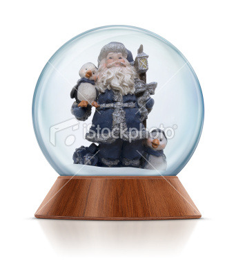 Santa Claus with penguins in the snow globe. Clean image and isolated on white background. Go>