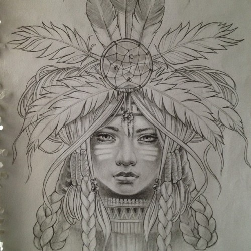 gimiksborn:  That'll do i think, on to the next… #pencil #sketch #tattoodesign #nativeamerican #girl #headdress #feathers #indian #gimiksborn #facepaint #hair #braids #dreamcatcher #custom #art