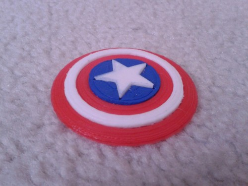 My 3D Printed Captain America Shield. Its now a necklace