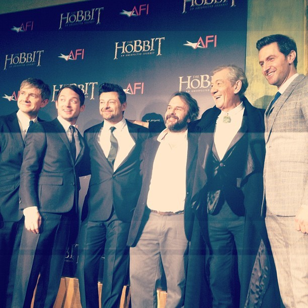 Andy Serkis, Peter Jackson - The boys of #TheHobbit! Martin Freeman, @WoodElijah, Andy Serkis, Peter