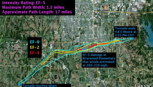 mothernaturenetwork:  Deadly Moore tornado tops the scale at EF-5 An EF-0 rating is reserved for minor damage, and an EF-5 is considered the most severe, with winds topping 200 mph.