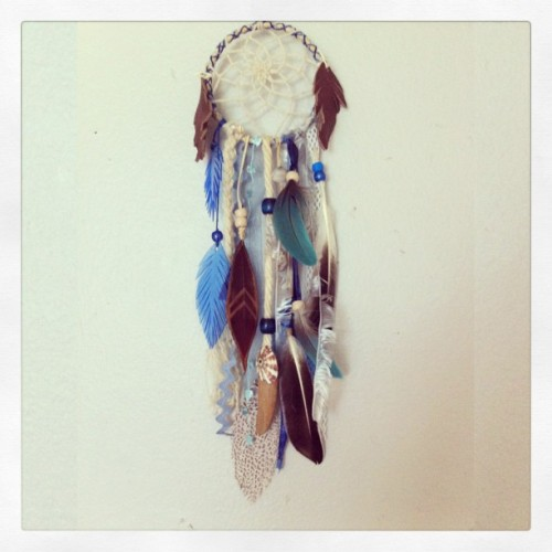 cosmicamerican:  Little custom order #dreamcatcher with sea #coral, shells, parrot feathers