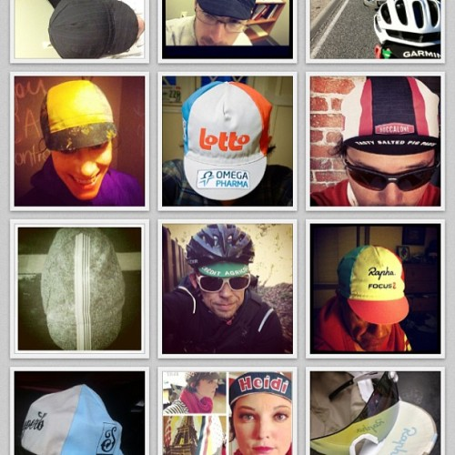 Cap collage! #cyclingcaptuesday