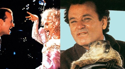 Best Holiday-Themed Bill Murray Double BillScrooged (1988) and Groundhog Day (1993) Celebrate Christmas by watching everyone's favorite cynic do his version of Scrooge and then ring in the New Year by watching Murray go a little nuts and then learn an important life lesson by living the same day over and over again. Sure, that day is February 2 rather than December 31, but Groundhog Day's themes of self-improvement and starting over from scratch make it a natural choice for New Year's Eve instead of watching When Harry Met Sally for the umpteenth time. (Not that there's anything wrong with that.) Read more: Holiday Guide 2012: Holiday Movies to Suit Every Mood