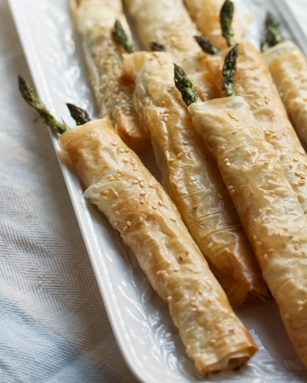 Asparagus in a Phyllo Blanket with Brie & Thyme