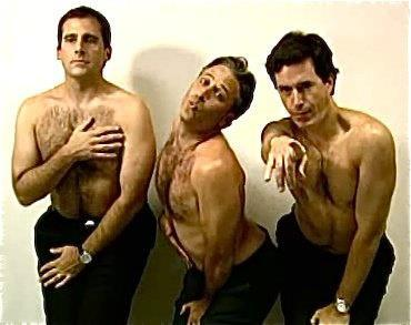 xxhaloxkittyxx:  Steve Carell, Jon Stewart and Stephen Colbert: How men would look if they had to pose in ads the way women are expected to. (via Pinterest)
