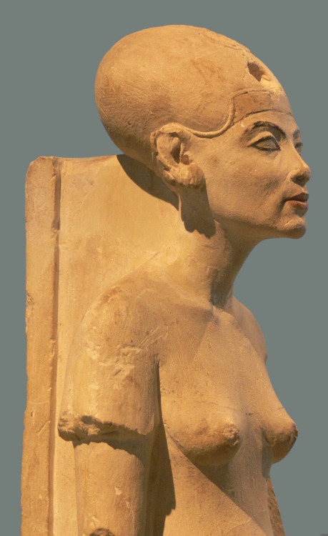 ancientart:  Standing-striding figure of Nefertiti, made of limestone, Amarna; New Kingdom, 18th dynasty; c. 1345 BC. Courtesy & currently located at the Egyptian Museum, Berlin. Photo taken by Andreas Praefcke