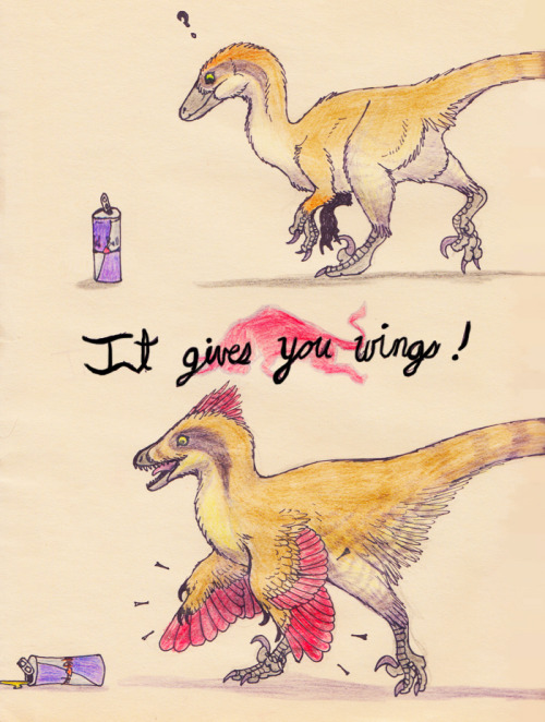 ewilloughby:  Little known fact: Red Bull turns inaccurate deinonychosaurs into more accurate ones.