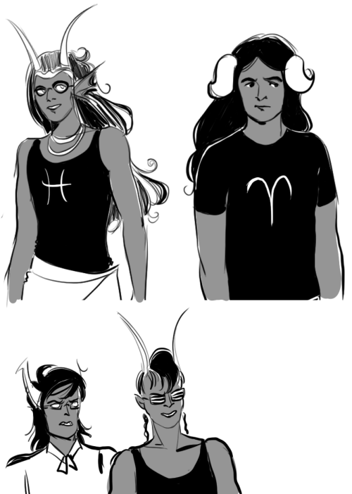 whileyouwouldreap:  presentation play/genderbent aradia and feferi still have beautiful flowing hair just like the smehxy bishounen in my animes ^_^