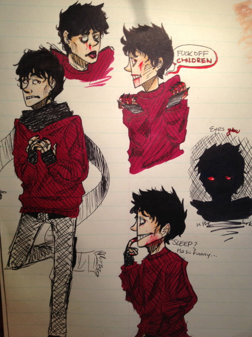heh heh doodles from school~ Aiden in his (for the most part) human form~ love this little shadow freak U v Y
