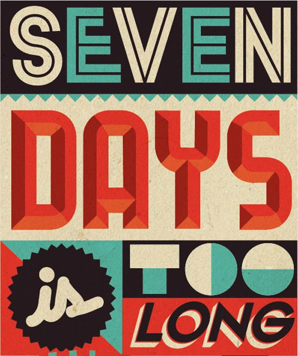 betype:  Seven Days - Typographic Illustration by Sam Bevington
