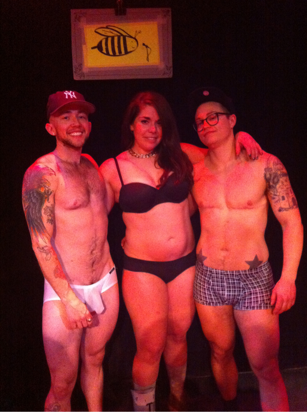 butchbikinikill:  my bros and i at the strip spelling bee last night. i went down to full frontal for a trans surprise. :p