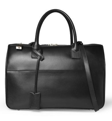 BLACK Bag: The Saint Laurent Leather Holdall Bag features a classically masculine profile with top handles, external pocket, and padlock and keys for a professional alternative to the standard briefcase. $2,590.