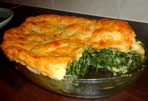gymbogivesback:  Spanakopita - The perfect comfort food for a cozy night in when it's freezing & snowing outside: Spinach pie with feta, dill, leeks & spring onions!! :D
