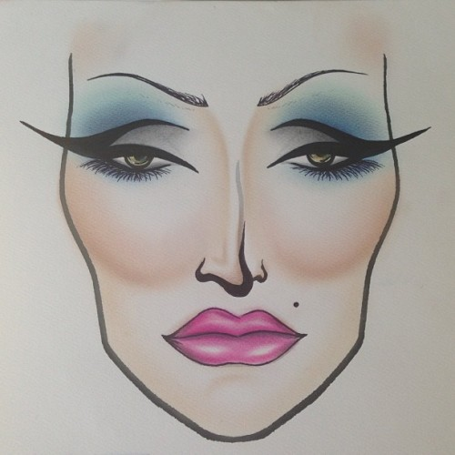 Drag look for tomorrow's class at Cinema Makeup School. #drag #makeup #makeupbymiles #facechart #candyyumyum #pink #lips #liner #contour #inspire #inspiration #industrypro #igdaily #iphonesia #brows #dragqueen  (at The Birdcage)