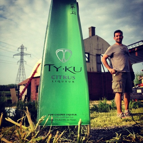 Nothing like a #refreshing sip of #tyku after a long day of #work on the #farm. #green #sustainable #farming #country #tykuchicago in #Michigan #travel #roadtrip #drink #party #bonfire #friends #fun #grass #clouds #barn / on Instagram